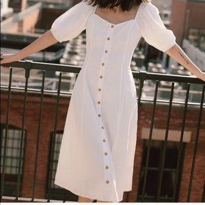 NWT Urban Outfitters White Linen Midi Dress